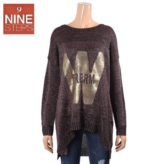 ナインステップWドリームメタルニートN17NW7119R ロングニット/ルーズフィット/セーター/韓国ファッション