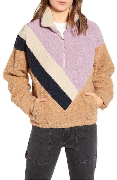 ジェイオーエー レディース ニット・セーター アウター J.O.A. Colorblock Faux Shearling Quarter Zip Jacket