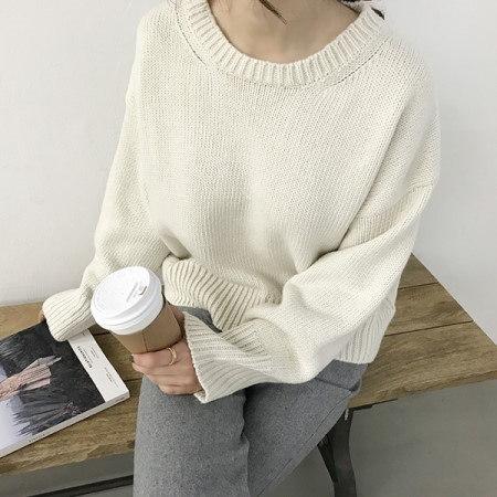 リブキーラウンドニットkorean fashion style