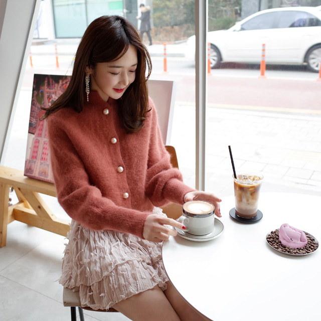 清純可憐真珠アンゴラカーディガンkorean fashion style