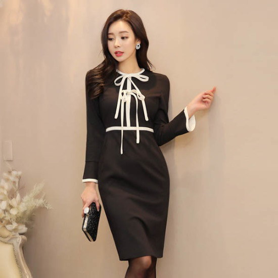 スタイルオンミシャロンダブルリボンポイントワンピース スーツワンピース/ 韓国ファッション
