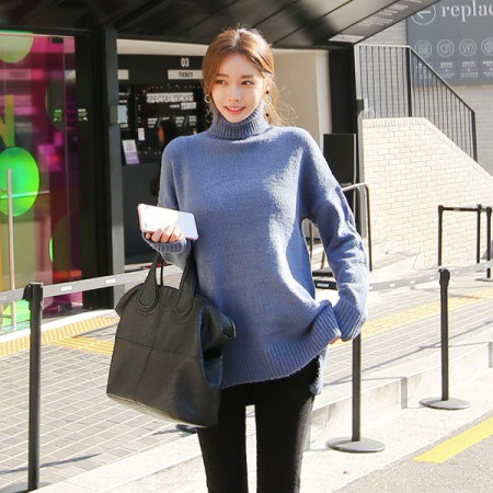 [Tom n Rabbit]ロングポーラオンバルニットタートルネックニットポーラニットルーズフィットニットデイリールックkorean fashion style