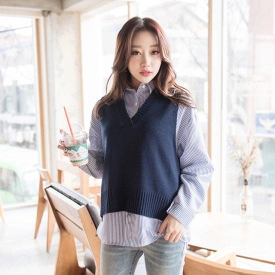 ララエルレボンニットベスト ニット/セーター/ニット/韓国ファッション
