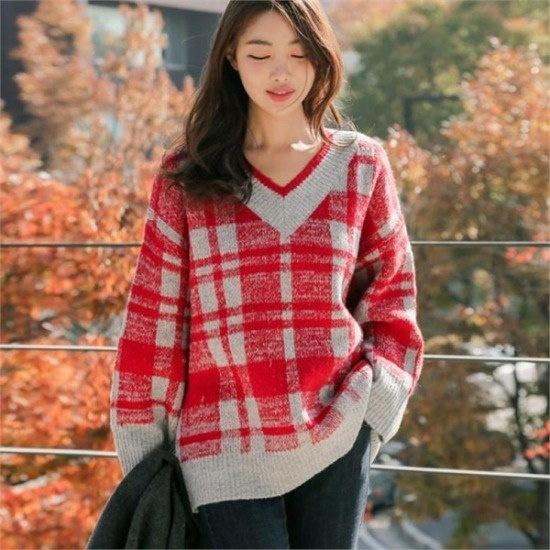 るみさん行き来するようにるみさんるみさんチェック配色ブイニット ニット/セーター/ニット/韓国ファッション