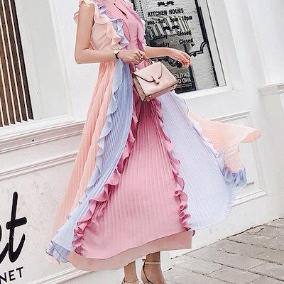 新作 人気 トレンド 夏 ワンピース ドレス プリーツ イブニングドレス ハイウエスト ノースリーブ フレアスリーブ フリル