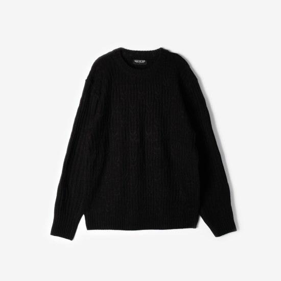 プロジェクト624UNISEXのクリップケーブルラウンドネックニートブラック ニット/セーター/ニット/韓国ファッション