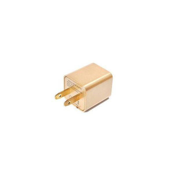 ゴールドCUBE型充電器/ AC電源アダプタ 1A/スマートフォン充電器/USB 充電 コンセント /ac アダプタ 1ポート