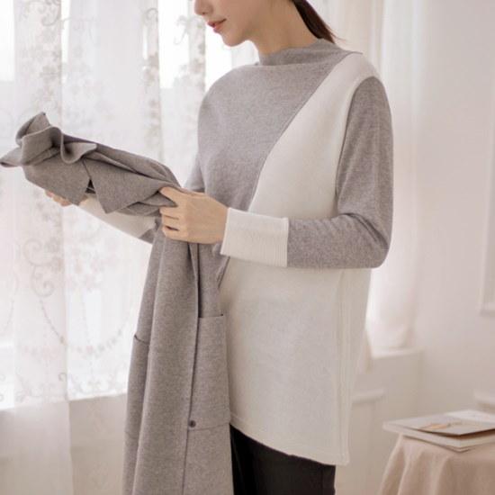 【マダム4060]ママの服配色ロングニット-XKN801005- 大きいサイズ/ニット/セーター/韓国ファッション