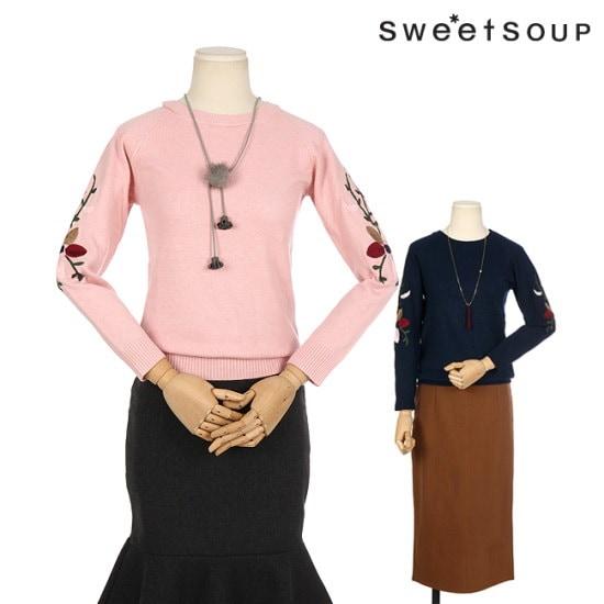 森SOUPフラワー自首ニートWTBLKH4 ニット/セーター/パターンニット/韓国ファッション