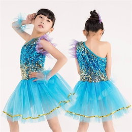 1304f002921c2 ダンス 衣装 女の子 ワンピース スパンコール チュール ラテン衣装 子供用 ラテン ジャズ 社交 ダンスウェア ステージ