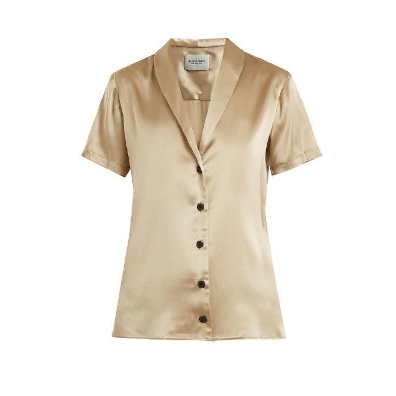 レイチェル コーミー レディース トップス ブラウス・シャツ【Evoke shawl-collar silk-charmeuse blouse】Gold-taupe