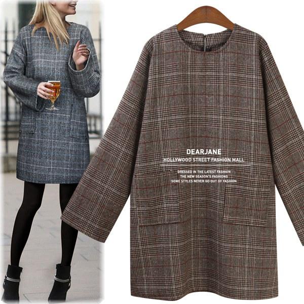 チェックファスナーワンピース/ M4024/ハリウッドファッション/セレブファッション/韓国ファッション