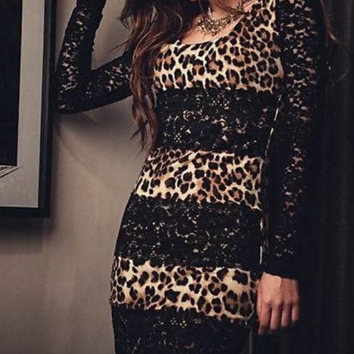 ホットセクシーな魅力的な女性レディクールナイトクラブカクテルミニヒョウスリムパーティードレスERO(サイズ:1 S