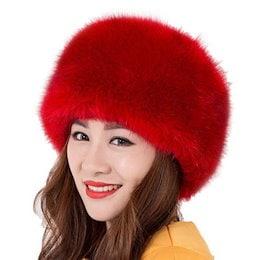 女性モンゴル本物のプリンセスロシアスタイルの冬の狐の毛皮の帽子