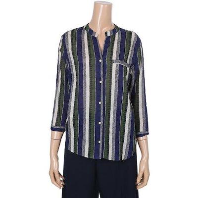 ワイケー編集ショップカラー・ストライプブラウスY172N299 ストライプティーシャツ / T-shirt / 韓国ファッション