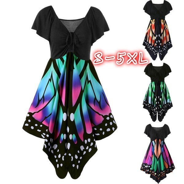 Women Fashion Short Sleeve V-neck Empire Waist Butterfly Print Tunic Dress Plus Size S-5XL