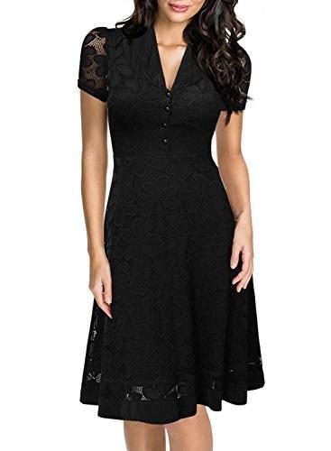 Miusol Women s Cap Sleeve 1950s Style Vintage Black Lace A-line Dress,Large