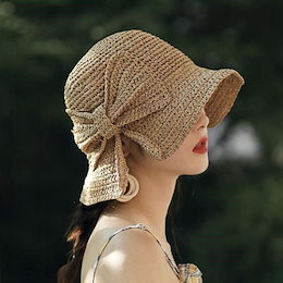 【ANDSTYLE】韓国ファッション/リボンラフィアハット/ラブリー&ロマンチックなテイストを作り出す ラフィアハット 日除け帽子 _241517