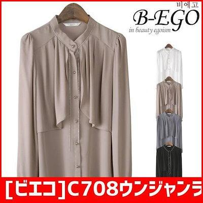 [ビエコ]C708ウンジャンラインブラウス /シフォン/シースルーブラウス/韓国ファッション