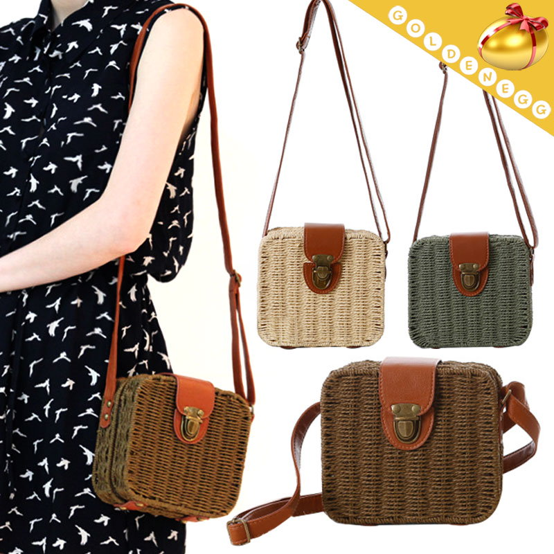 【予約】【送料無料】レディースファッションバッグ/ストローバッグ/編みカゴバッグ/新作/ピクニックバッグ/3色/女子力UP