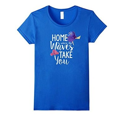 Womens Disney Finding Dory Home Is Graphic T-Shirt Medium Royal Blue
