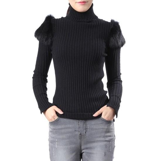 ジジピエクス肩・ラビット装飾ゴルジポルラニトゥGGDCKP940F / ニット/セーター/タートルネック/ポーラーニット/韓国ファッション