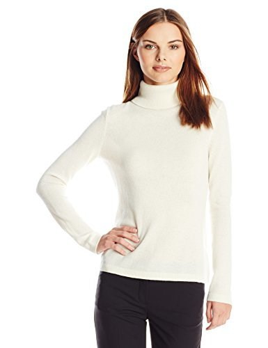 Lark & Ro Womens 100% Cashmere Slim-Fit Turtleneck Sweater, White, Large