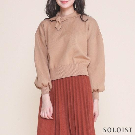 ソロイストサイドリボンネクボリュームニットSADI1A05 ニット/セーター/カラーニット/韓国ファッション