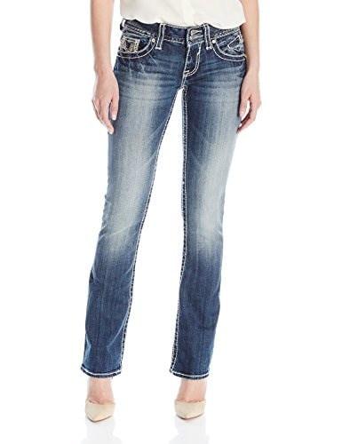 Vigoss Womens New York Heavy Stitch Boot Cut Jean with Flap Back Pocket, Dark Wash, 32