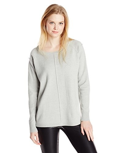 French Connection Womens Babysoft Veronica Exposed Seam Raglan Sweater, Grey Melange, Large