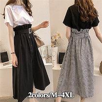 【6/3更新セットアップ 集合】韓国ファッション 可愛い 着痩 優雅である カジュアルワンピース!Tシャツ+スカート 体型カバー セットアップ レディース FANT683
