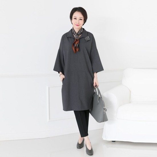 [デッドと] 8A-OP901ステッチラインカラーワンピース シフォン/レースのワンピース/ 韓国ファッション