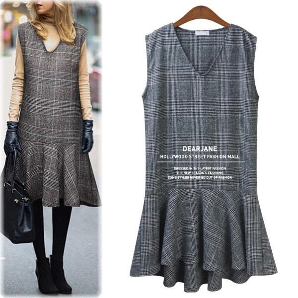 グレンチェックVネックワンピース/ M4025/ハリウッドファッション/セレブファッション/韓国ファッション