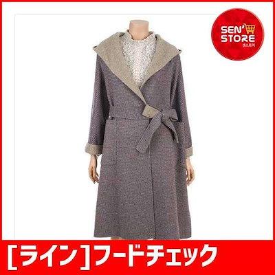 [ライン]フードチェックコートNHHCIJ0800 /ポコート/コート/韓国ファッション