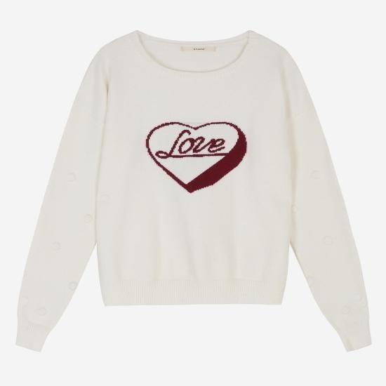エッコノ、アイボリーレーヨン混紡LOVEセーターATSW7D209IV ニット/セーター/パターンニット/韓国ファッション