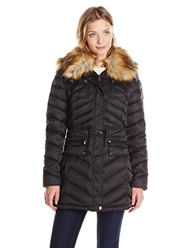 Laundry Womens Anorak Down Coat with Faux Fur Hood, Black, X-Small