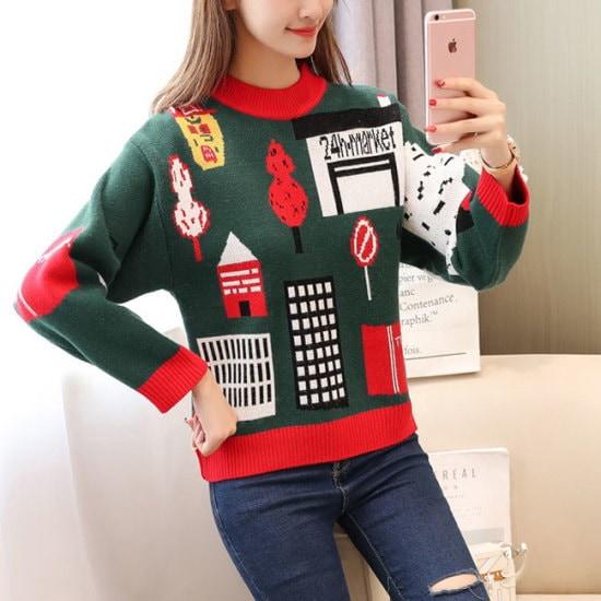 オーサムのチェズカートゥーンウール・ニット233044 ニット/セーター/パターンニット/韓国ファッション