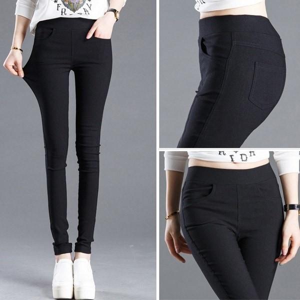 女性ファッションストレッチスキニーレギンス鉛筆パンツスリムパンツ(ブラックホワイトXS-3XL)