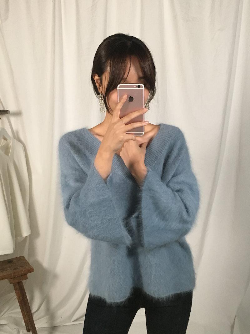 グランデートルックフェミニンアンゴラニットkorea fashion style