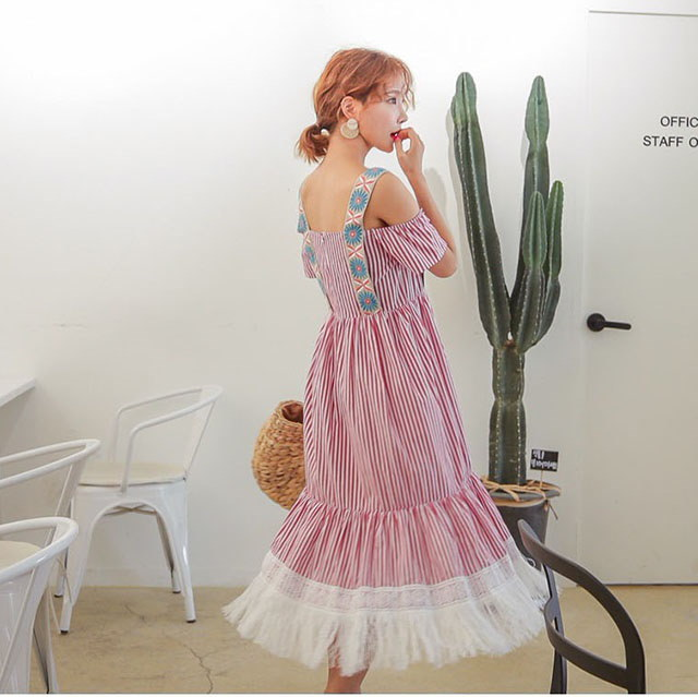 裾手術ストライプパターンナシオフショルダーマキシロングワンピースリゾートルックデイリールックkorea women fashion style