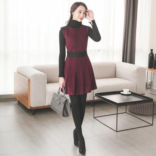 オッドDRJ007、ロマンチック肩章配色・プリーツワンピース スーツワンピース/ 韓国ファッション