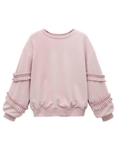 ファッション トップス プルオーバー ラウンドネック ピンク スリム スウィート Tシャツ