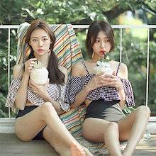 最安価格韓国のファッション水着 レディース ビキニ水着体型カバー水着オフショルダー水着