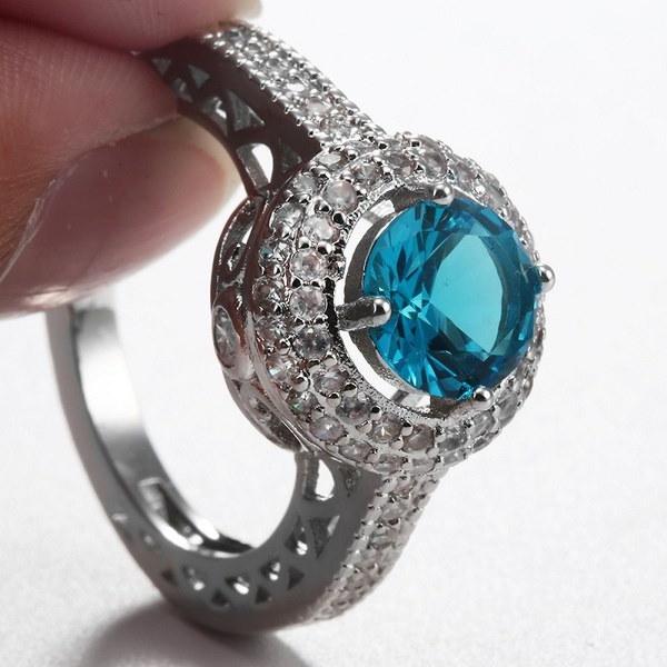 ファッション女性925スターリングシルバーラウンドカットアクアマリンブライダル結婚指輪