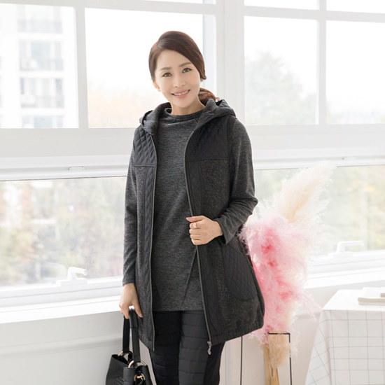 マダム4060ママの服キルティングフードチョッキXVE711003 ベセチュウ / ニット・ベスト/ 韓国ファッション