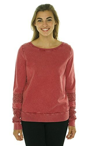 Lucky Brand Womens Lace Inset Sleeve Sweater Biking Red Large