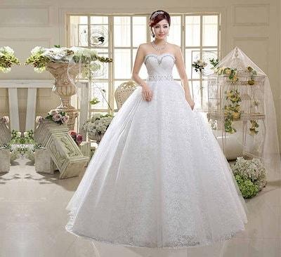 お姫系 プリンセスドレス ウェディングドレス 礼服 花嫁 韓国風 ベアトップ バックレス XCQD67