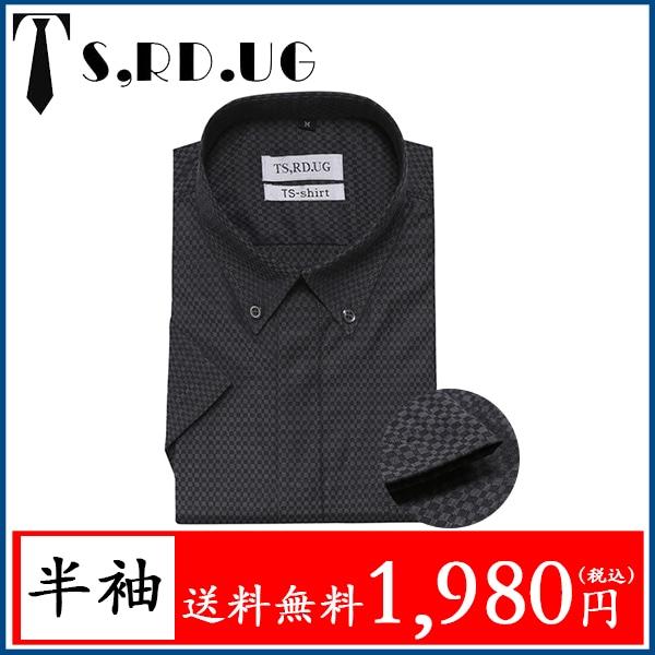 5d402b1b98aa5e 「送料無料」 メンズ ワイシャツ 半袖 ドレスシャツ レギュラーフィット オックスフォード Yシャツ チェック ブラック