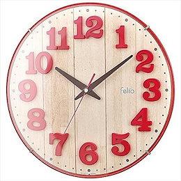 Felio(フェリオ) 壁掛け時計 ブリュレ アナログ表示 連続秒針 レッド FEW181R-Z 【4952324918133-FEW181R-Z】