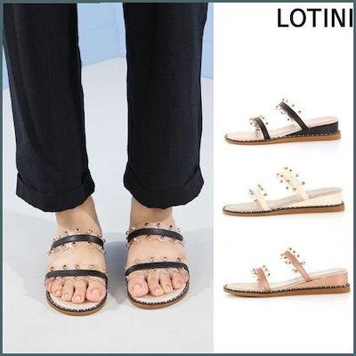 [ロティニ]ビーズダブルストラップスリッパ(J7720ASH) /女性の靴/ハイヒール/パンプス/ 韓国ファッション